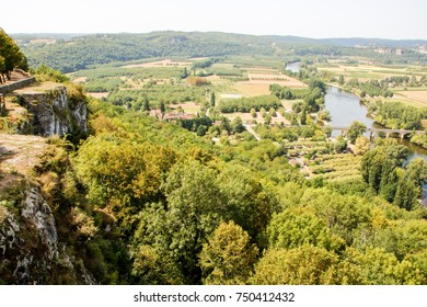 View over the Dordogne valley from Domme in the Dordogne department in Aquitaine, France