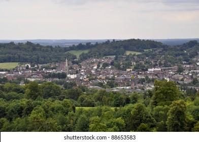 View over Dorking, Surrey, England