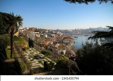 view over douro valley from maze garden in porto at Jardins do Palácio de Cristal park