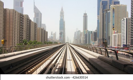 View over the downtown from a subway train in Dubai, UAE, 2014