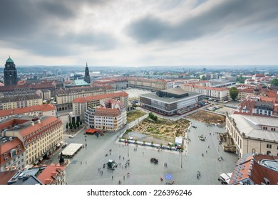 View over Dresden with an archeological excavation in the middle of the city