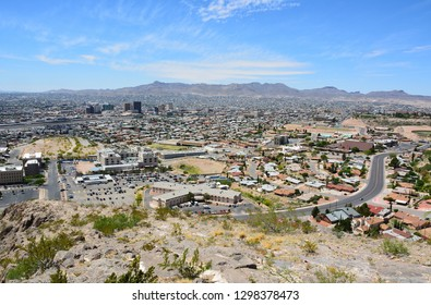 View over El Paso, TX in the United States and its sister city Ciudad Juarez in Mexico.