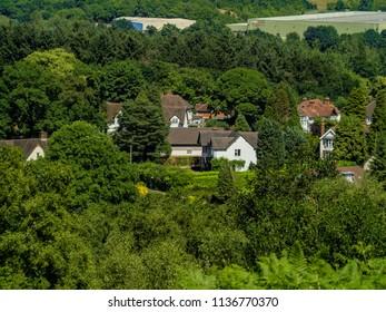 view over english suburbs