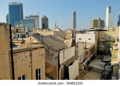 View over Florentine neighburhood and Tel-Aviv skyscrapers, Israel.
