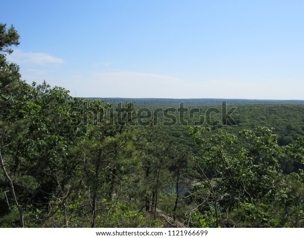 View over the forest from the Lantern Hill hiking trail in Connecticut