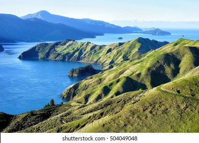 View over French Pass, Marlborough Sounds.New Zealand. Te Aumiti / French Pass separates D'Urville Island, at the north end of the South Island of New Zealand, from the mainland coast.