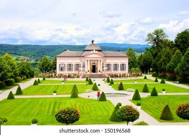 View over the garden at Melk Abbey, Austria
