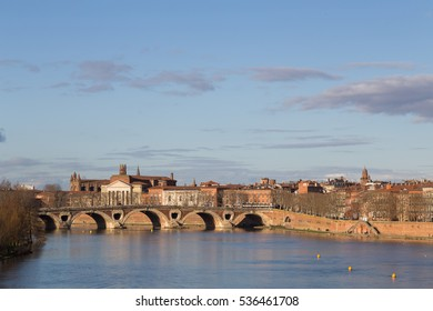 View over the Garonne River towards Pont Neuf in Toulouse.