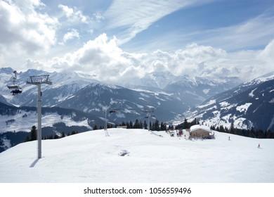 View over gerlos in ski resort zillertal arena