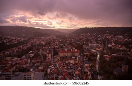 View over German city of Jena at sunset