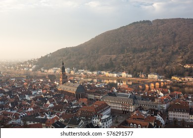 View over the german town of Heidelberg from the Heidelberg Castle