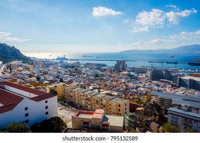View over Gibraltar city from above in sunny day