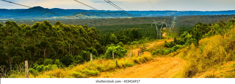 View over Glasshouse mountains and Powerlink transmission line