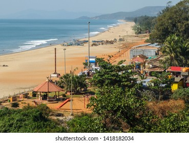 View over Gokarna's largest beach which lies at the end of the main street of this holy town.