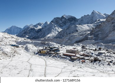 View over the Gorak Shep village from Kala Patthar near the Everest Base Camp, Himalayas, Nepal. Awesome photo.