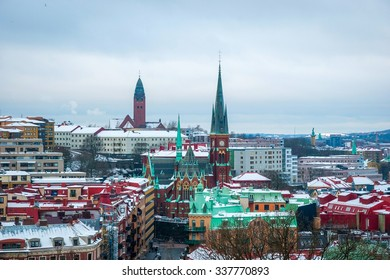 View over Gothenburg skyline in winter, Sweden