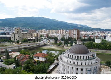 View over government buildings towards the city centre of Skopje,  Republic of Macedonia