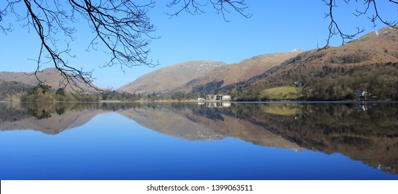 View over Grasmere with reflections of the mountains