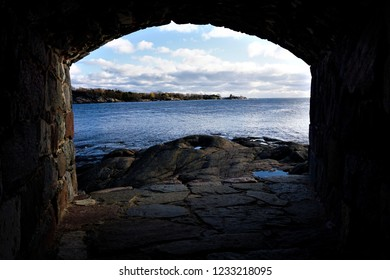 View over the Gulf of Finland from loophole on the island of Suomenlinna, Finland