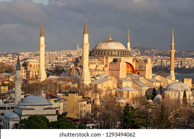 View over Hagia Sophia at the sunset, Istanbul, Turkey