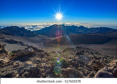 View over the Haleakala crater, minutes after sunrise