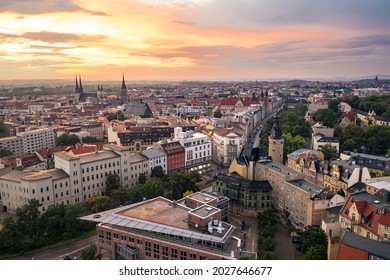 view over halle saale city, germany