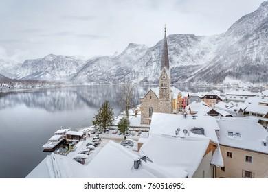 View over Hallstatt with lake in winter, Salzkammergut, Austria