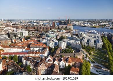 View over Hamburg, Germany to the Speicherstadt