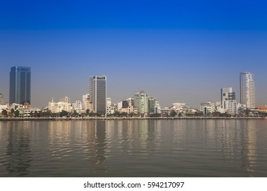 View over the Han River to the city center Danang, Central Vietnam, Vietnam, Asia