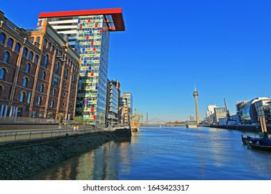 View over the harbor basin in the media harbor in Düsseldorf