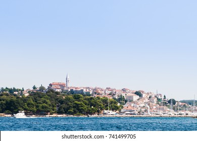 View over harbor and old town of Vrsar, Croatia, from the sea