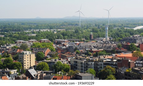 View over Hasselt with closed coal mines in the background, Limburg, Belgium, Europe