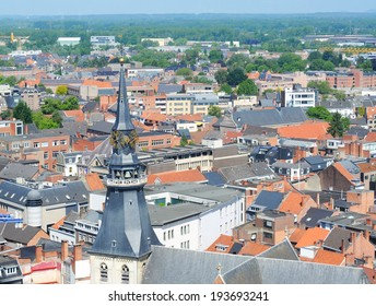 view over hasselt, limburg, belgium, with cathedral of saint quintinus in front