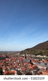 View over Heidelberg, Germany, with the River neckar in early sping