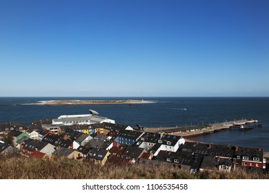 View over Heligoland and the harbour to the neighbour island Duene. - Shutterstock ID 1106535458