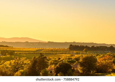View over the hills of chianti, Italy at sunset. Autumn season.