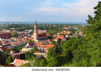 View over the historic city of Landshut, Bavaria, Germany, from the castle hill.