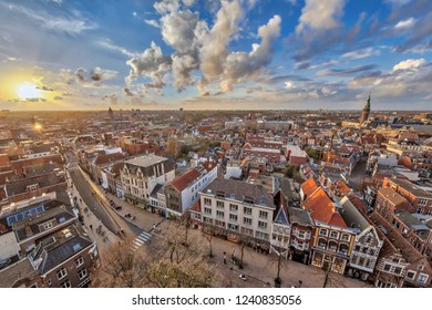 View over historic part of Groningen city at sunset