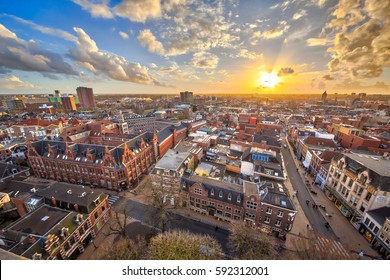 View over historic part of Groningen city under setting sun