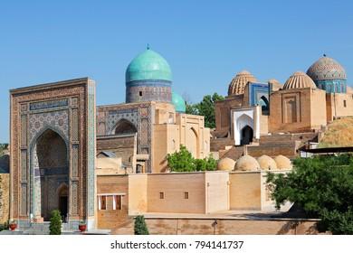 View over the historical necropolis of Shakhi Zinda, Samarkand, Uzbekistan.