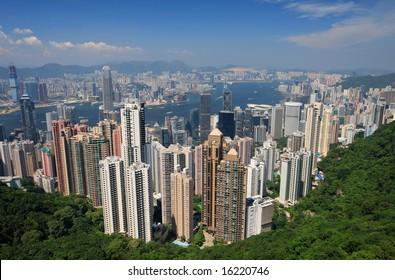 View over Hong Kong and Victoria harbor