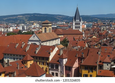 View over houses roofs of Annecy medieval town, France