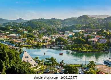 A view over an inner waterway in Castries, St Lucia in the morning