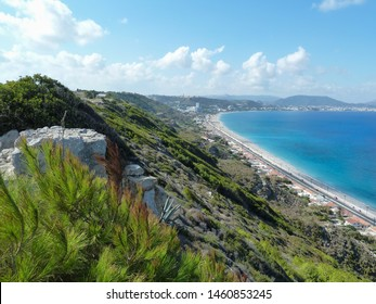View over Ixia coastline and beach from the Temple of Athena Polias and Zeus Polieus, Rhodes, Greece