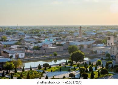 View over Khiva and gardens, Uzbekistan
