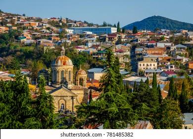 View over Kutaisi city skyline in autumn, Georgia