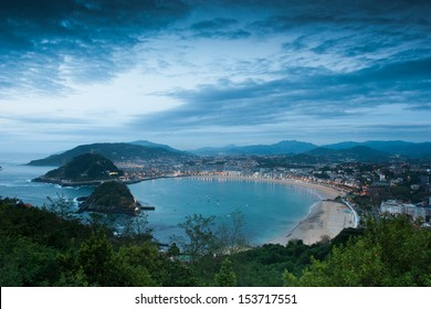 View over La Concha Beach from Monte Igeldo, San Sebastian, Spain at Night