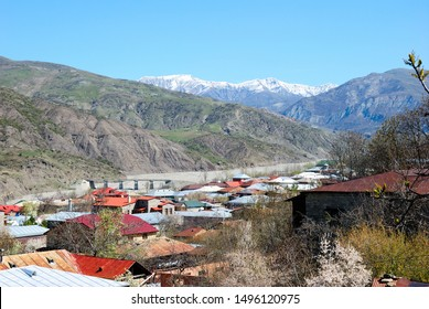 View over Lahij village and the Greater Caucasus mountains in Azerbaijan