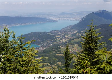 View over Lake Annecy high up on the Col de la Forclaz France