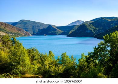 View over the Lake of Castillon, Saint-Julien-du-Verdon, Provence, France.